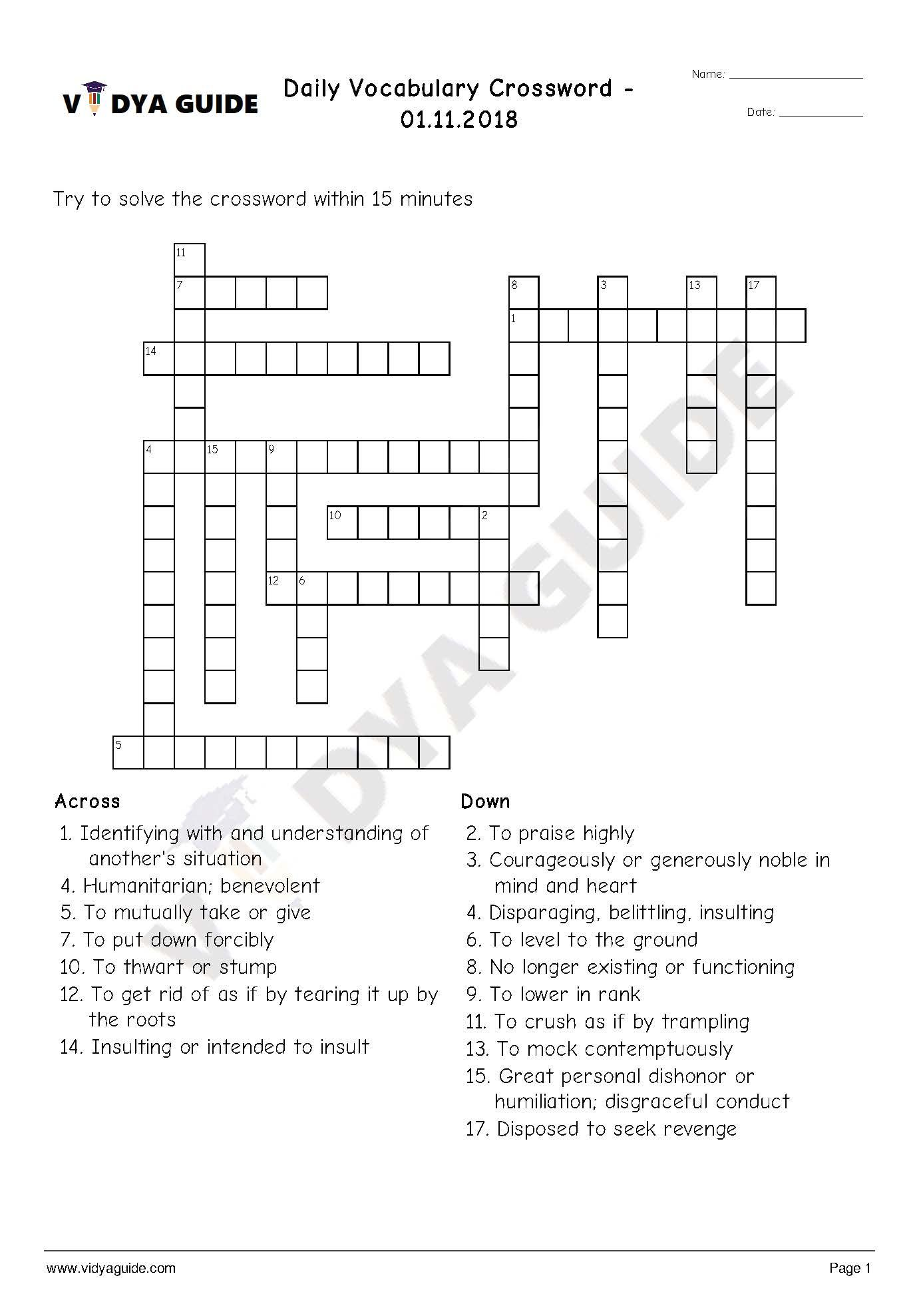 Download Daily Crossword Worksheet For English Vocabulary