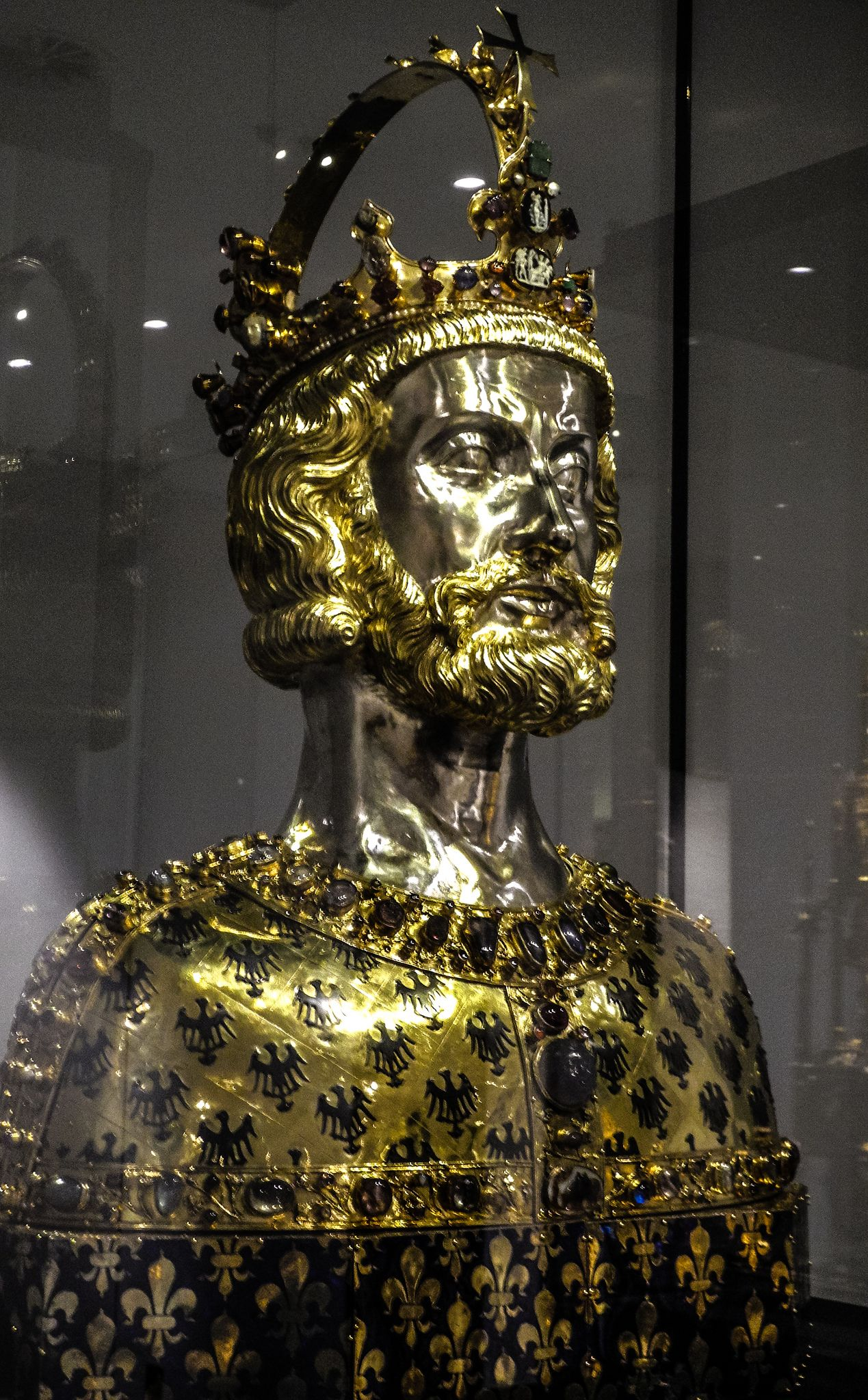 Reliquary bust of Charlemagne, 1349, Goldsmith's art, Germany, 14th century,... (containing Carolus's cranium, the top/braincase of his skull)