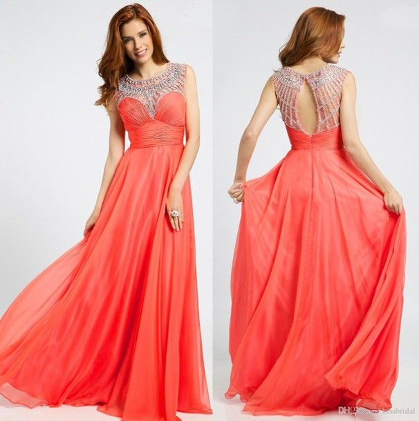 Coral prom gown