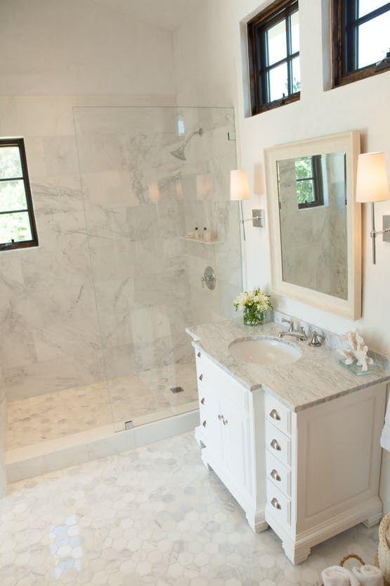 Carrera Marble Bathroom Stucco Walls Walnut Casement Windows