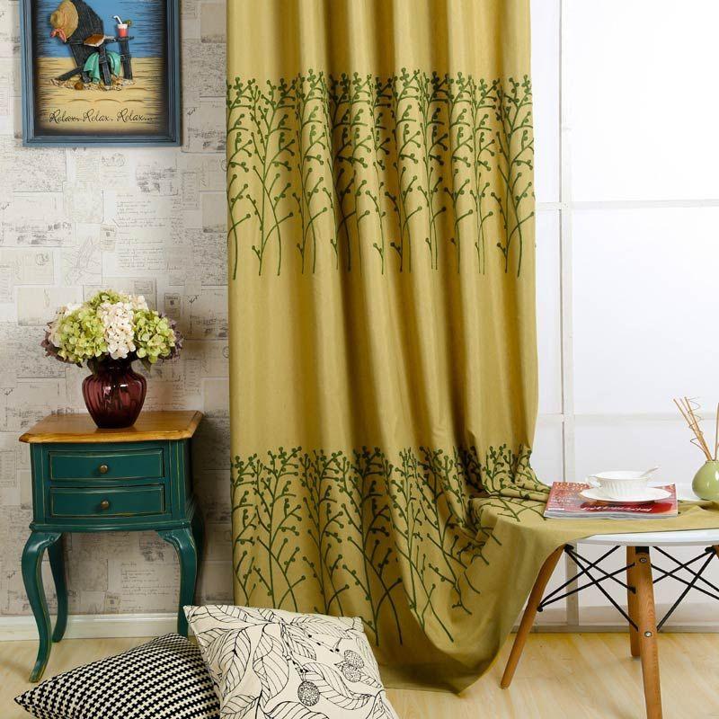 Rideau tamisant brodé en coton lin écologique jaune pour chambre à