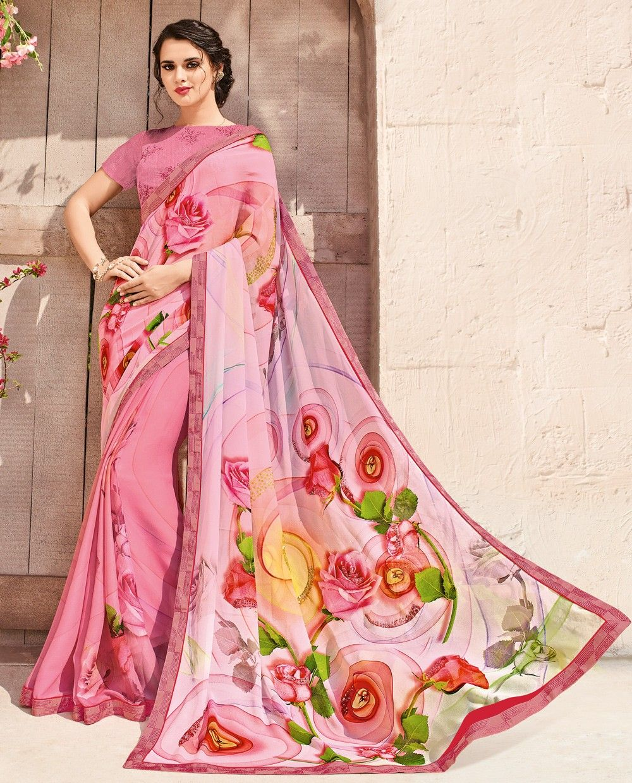 3e05a6ba89 Pink Printed Sarees, Crepe Chiffon Printed Sarees, $60.59. Buy latest Printed  Sarees with custom stitching and worldwide shipping.