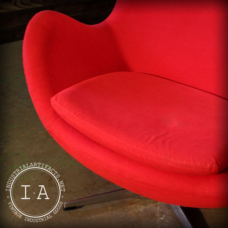 Egg Chair Arne Jacobsen Kopie.Vintage Industrial Mid Century Modern Arne Jacobsen Design Red Egg