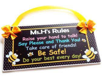 Yellow Classroom Decor : Kindergarten rules bee themed teacher name classroom decor black