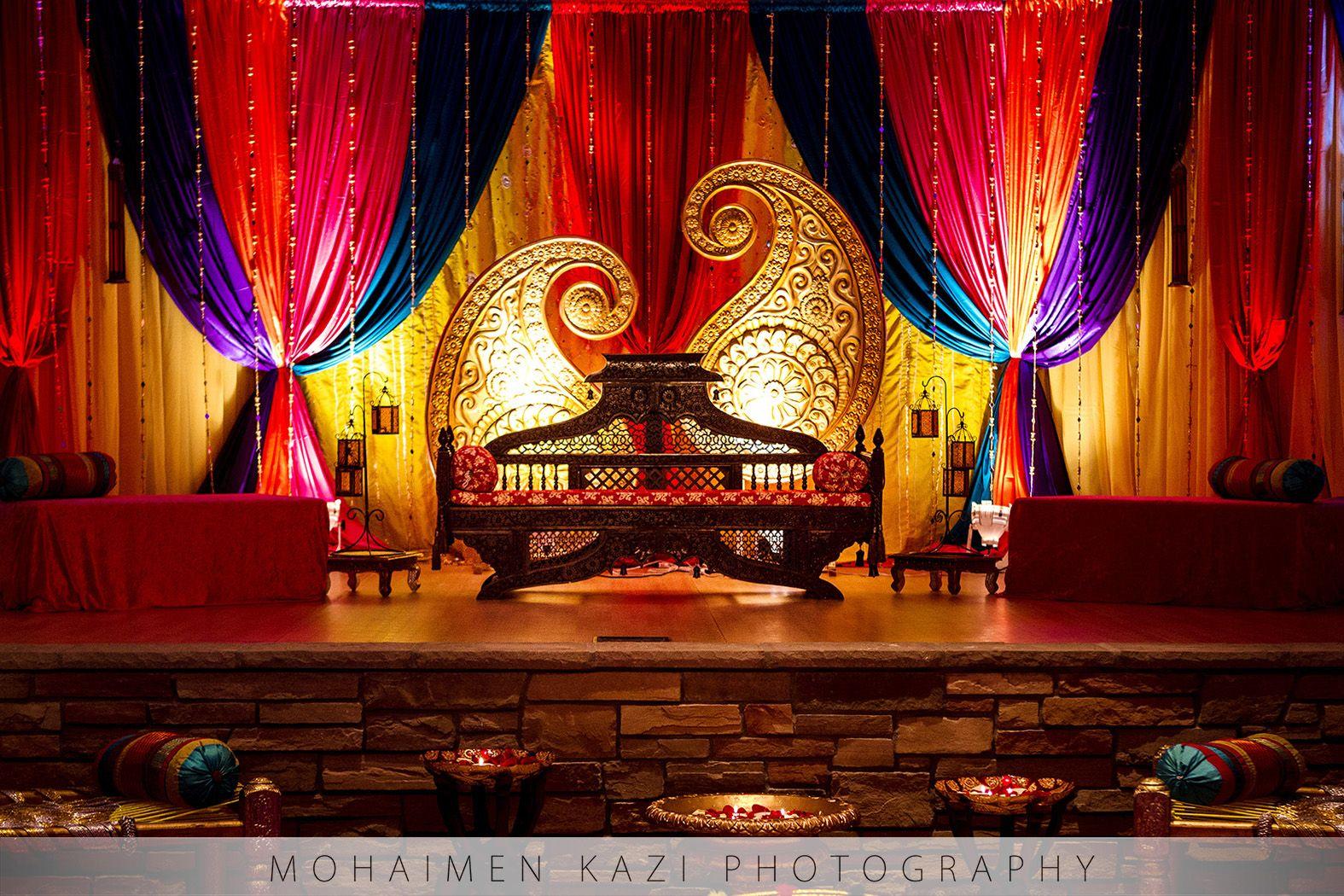 Rajasthani wedding stage decoration  Baltimore Wedding u Meshal u Ali  Mehndi Stage Decor Ideas