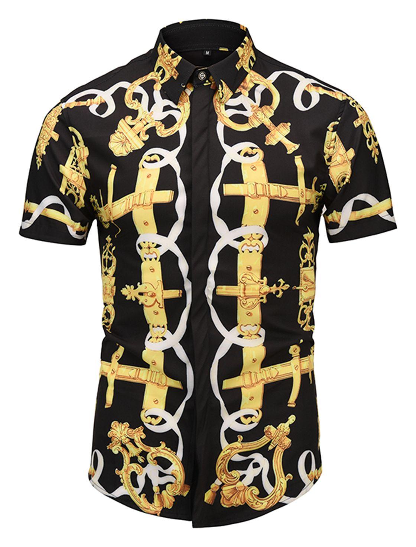 Men's Print Al003 Pizoff Dress Short Sleeve 33 Luxury Shirt b6vYfgI7y