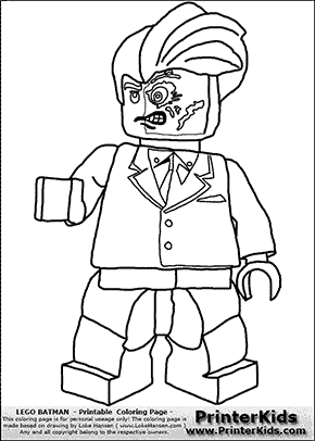 Lego Batman Two Face Coloring Page Coloring Pages for B and