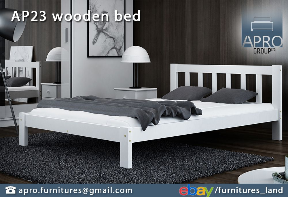 Details About Wooden Pine White Wood Bed Frame With Foam Mattress