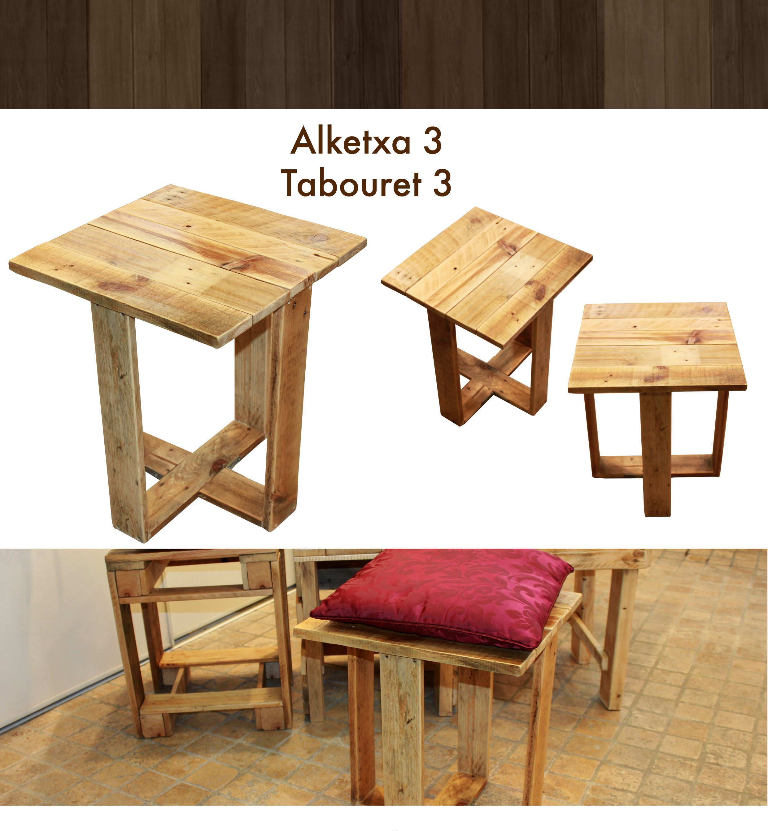 tabouret design en bois de palette les meubles en palette de martxuka pinterest tabouret. Black Bedroom Furniture Sets. Home Design Ideas