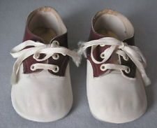 VTG MRS. DAY'S IDEAL BABY SHOES~BROWN AND WHITE LEATHER 50's SADDLE SHOES
