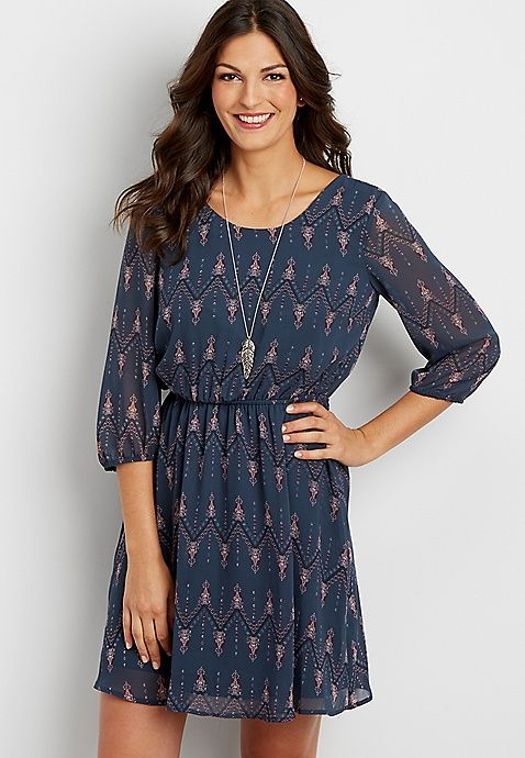 Patterned Chiffon Dress With Strappy Back Maurices Fashion