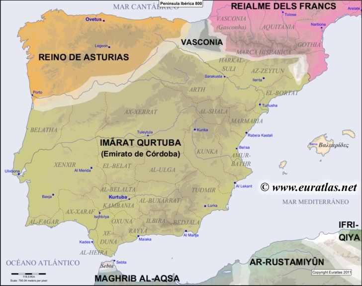 Map of the Iberian Peninsula in the year 800. Mystery of ...