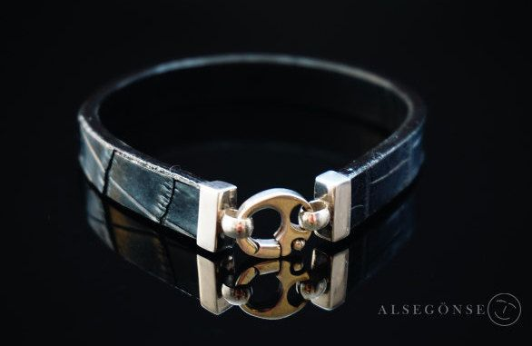 Crocodile Leather Bracelet by ALSEGONSE on Etsy