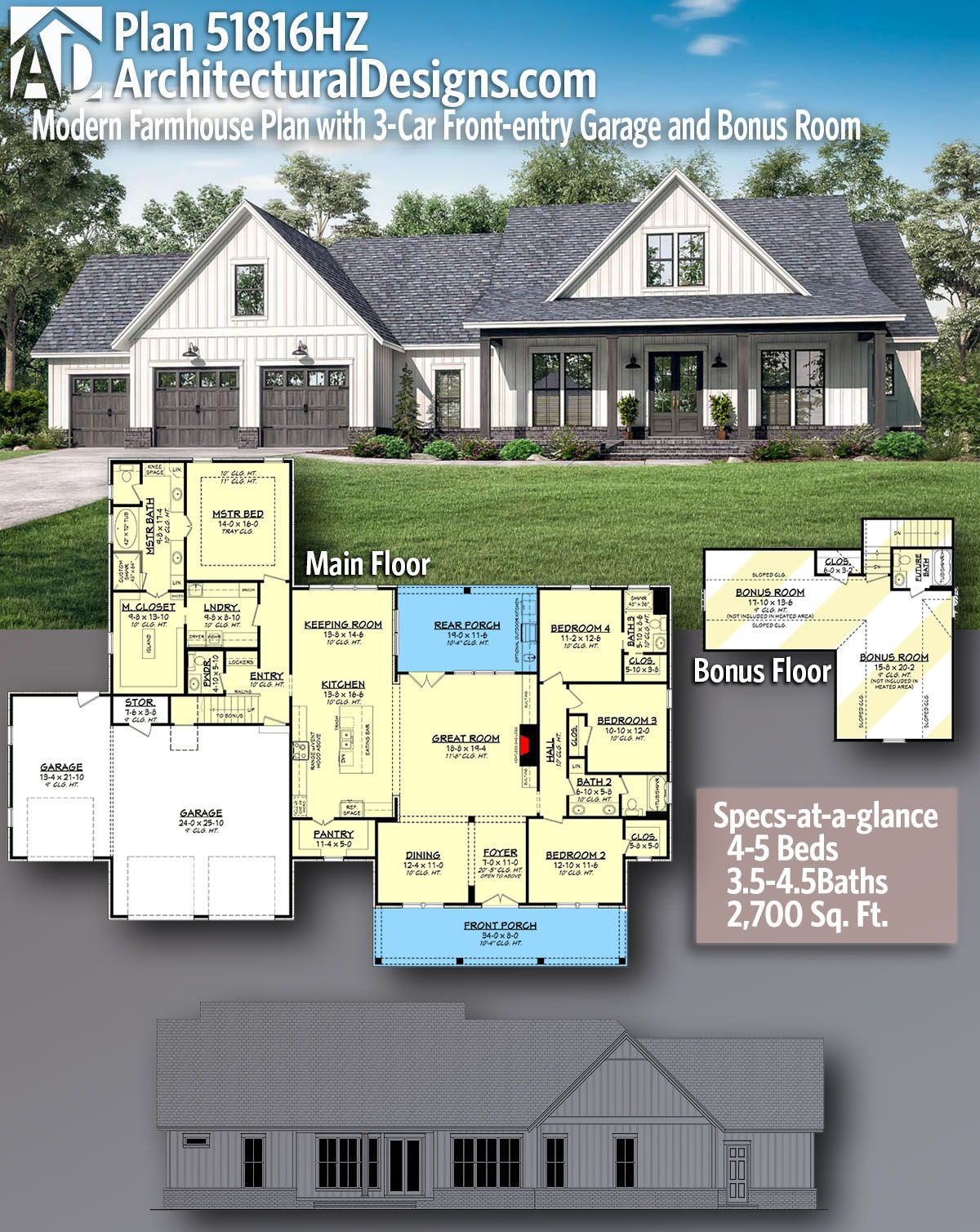 Plan 51816hz Modern Farmhouse Plan With 3 Car Front Entry Garage And Bonus Room Modern Farmhouse Plans House Plans Farmhouse Craftsman House Plans