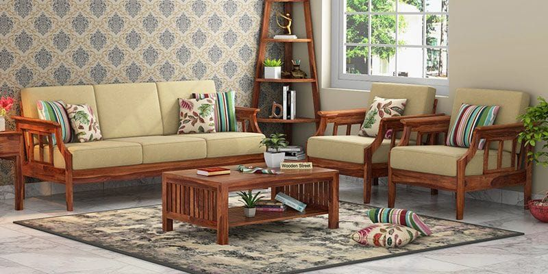 simple wooden sofa set pictures   Wooden sofa set, Wooden ...