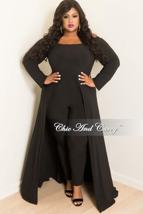 d66e9881403 New Plus Size Off the Shoulder Jumpsuit with Attached Long Skirt in Bl –  Chic And Curvy