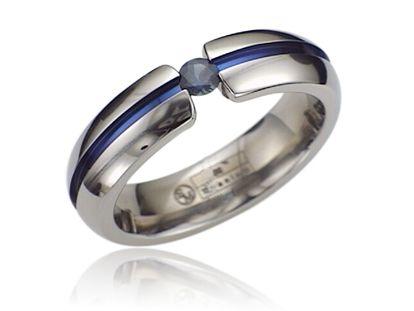 Andrews Jewelers Buffalo NY Mens Sapphire Titanium Wedding