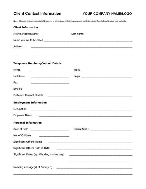 client information form template free download - want to keep all your client details organized and at hand