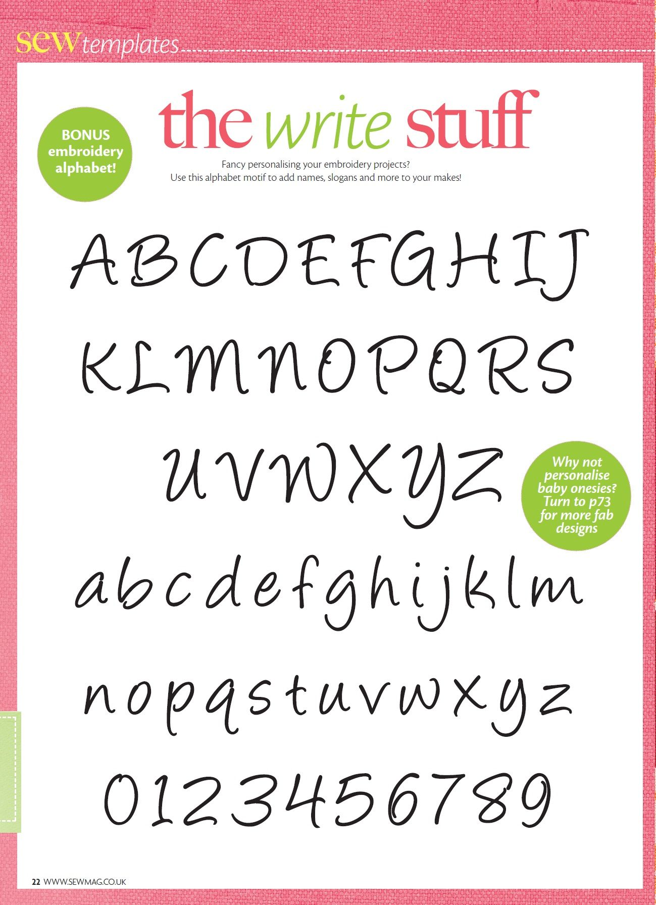 The Write Stuff Embroidery Alphabet Templates Pinterest