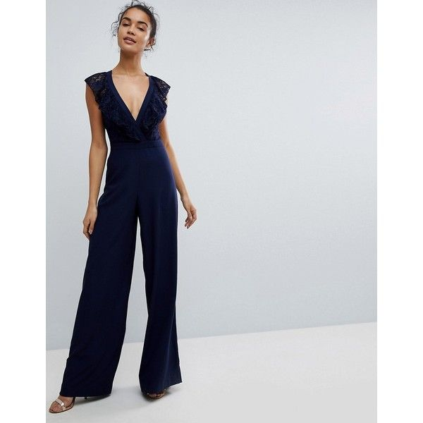 6b7d036e9e ASOS Wrap Lace Jumpsuit with Wide Leg (£50) ❤ liked on Polyvore featuring  jumpsuits