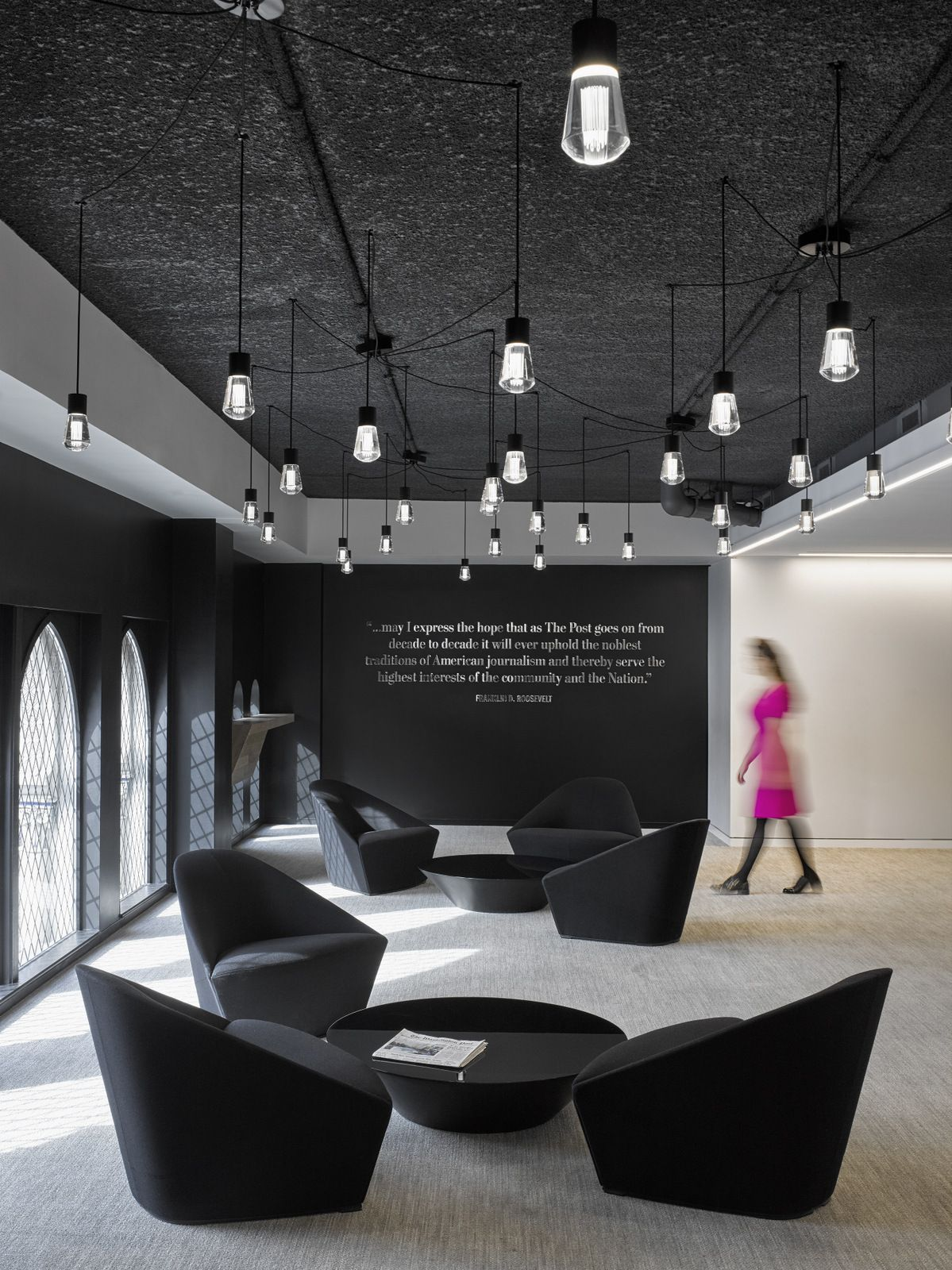 Black white office design the washington post for Modern white office
