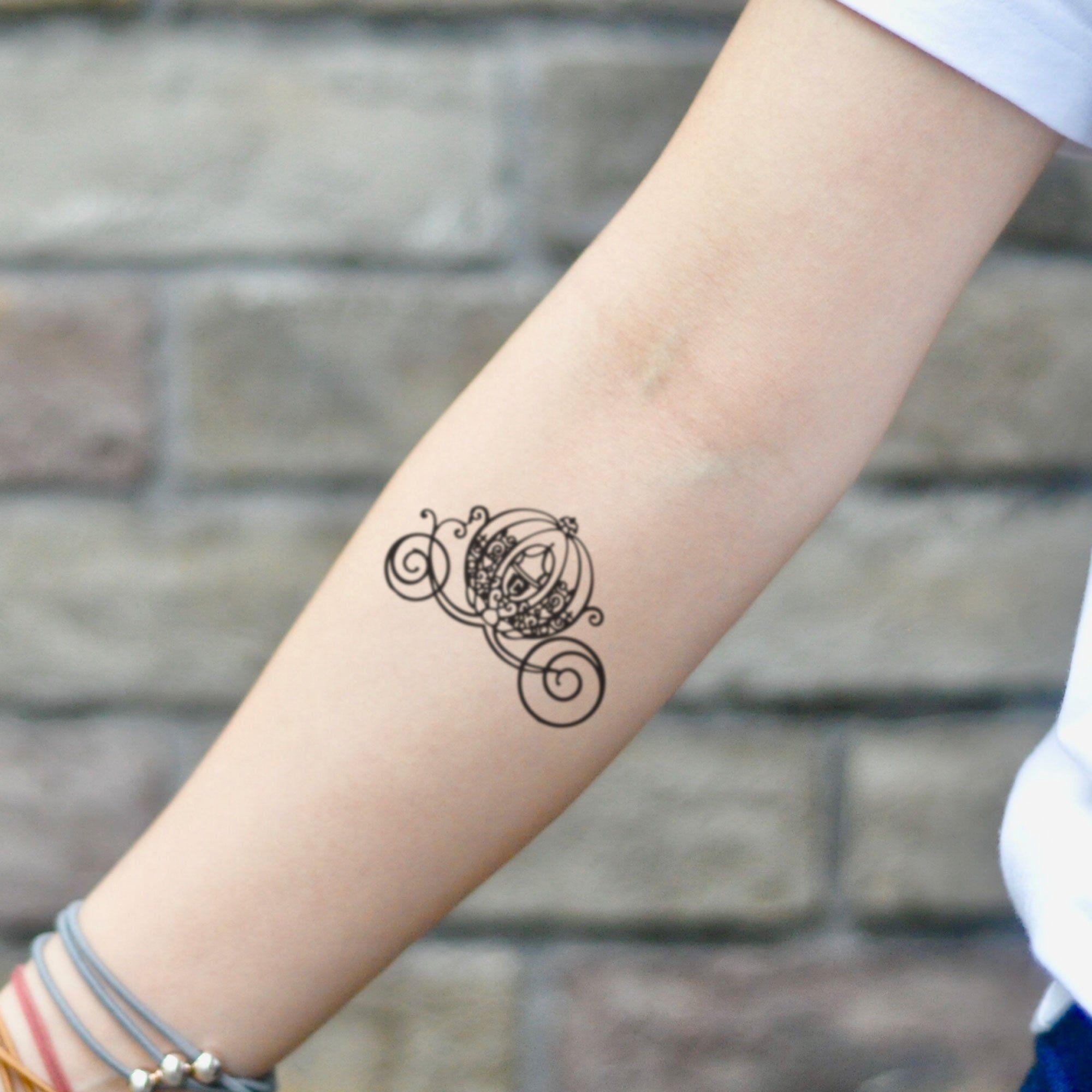 Photo of Cinderella Pumpkin Carriage Temporary Tattoo Sticker (Set of 2)