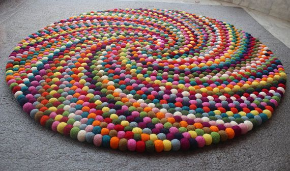 Colorful Felt Ball Round Rug Multi Color Nursery Carpet Etsy Felt Ball Rug Carpet Handmade Felt Ball