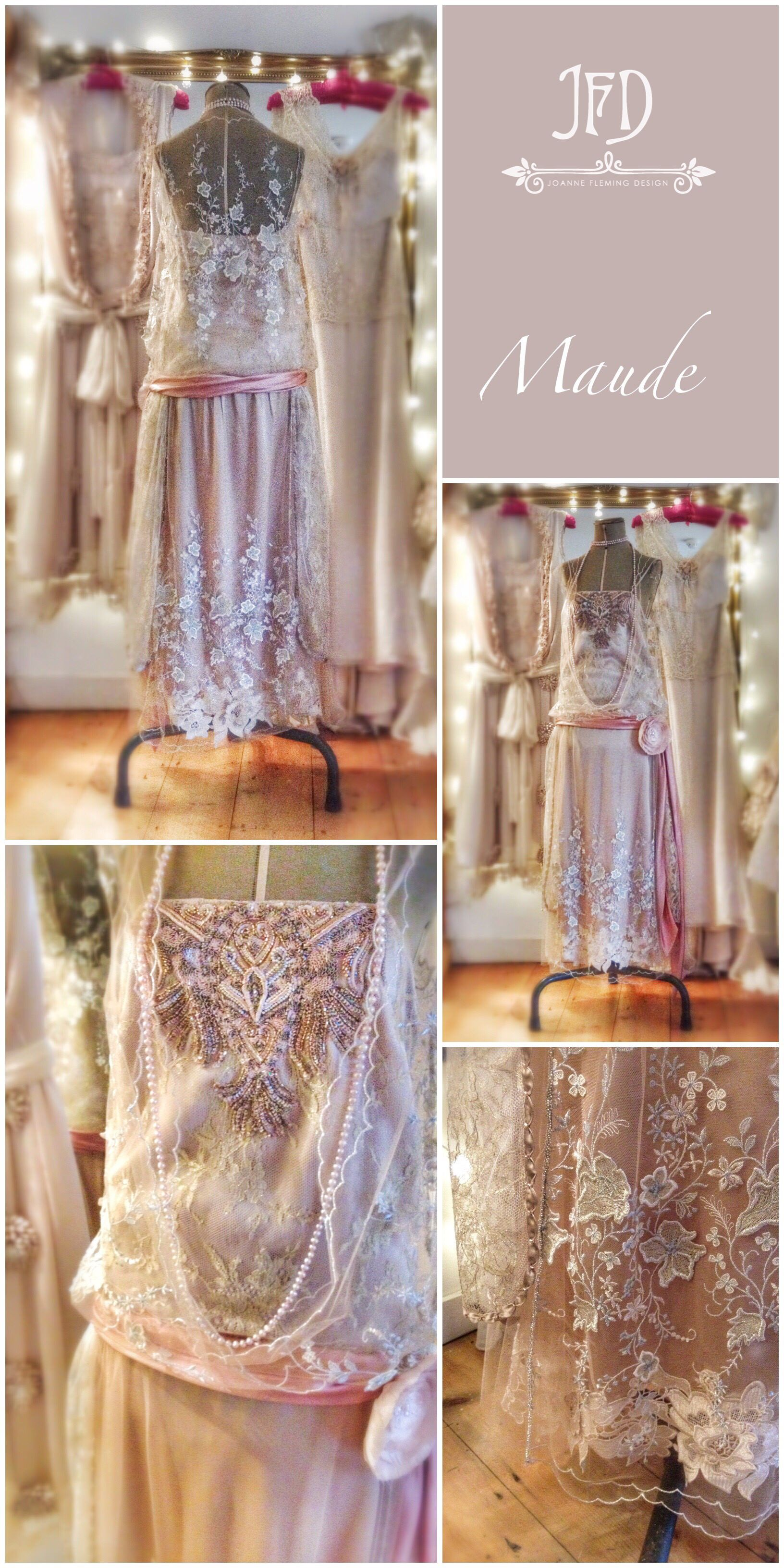 0c568709a84 1920s inspired embroidered tulle and blush silk satin flapper wedding dress  by Joanne Fleming Design