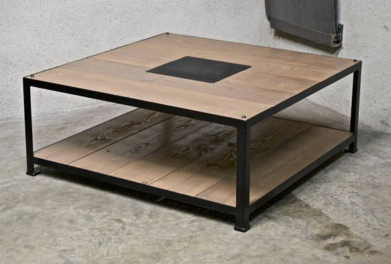 Articles Similaires A Table Basse Acier Bois 1m X 1m Sur Etsy Custom Industrial Furniture Table Coffee Table