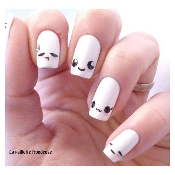 Cute And Happy Smiley Face Nails Liked On Polyvore Featuring Beauty Products Nail Care Nail Treatments Nails Kawaii Nails Kawaii Nail Art Nail Art Designs