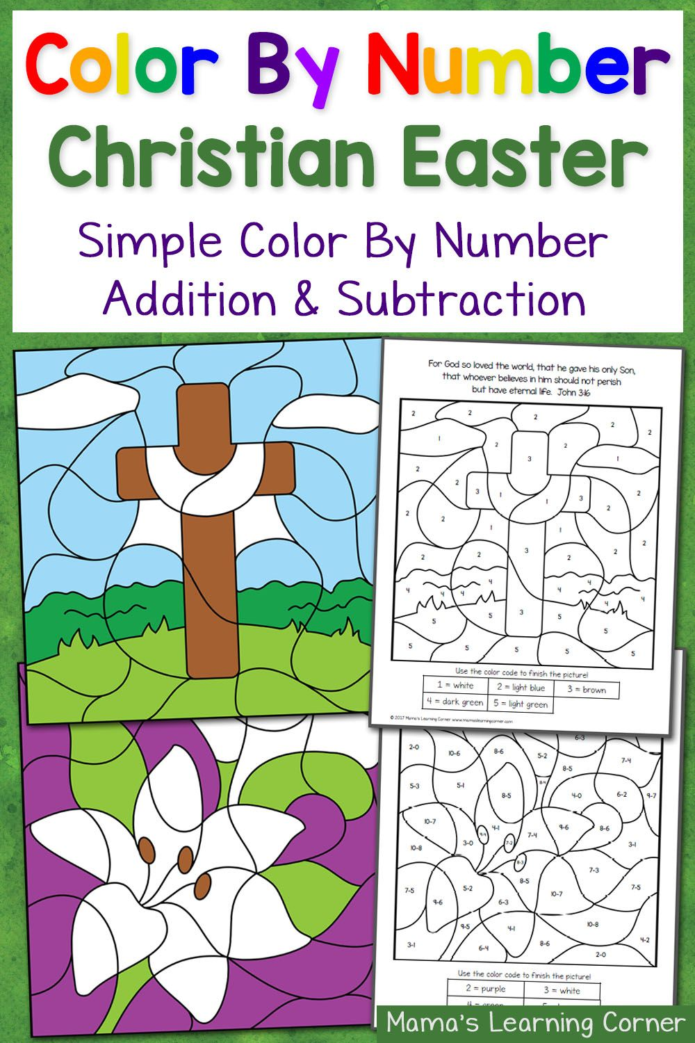 6 page set of christian easter color by number worksheets simple addition and color - Simple Color Number Printables
