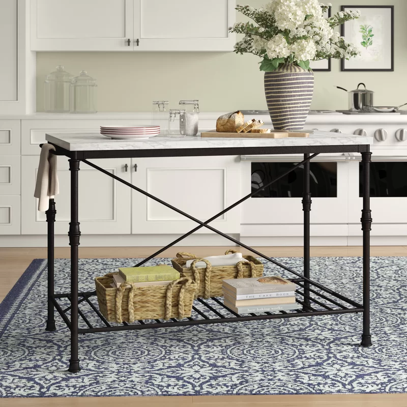 Castille Prep Table With Marble Top Kitchen Marble Marble Top Kitchen Design