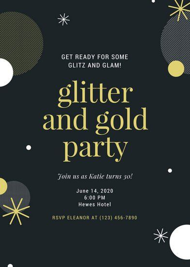 Black Gold Glamorous Party Invitation 2018 Dinner Dance