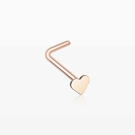 Rose Gold Heart L Shaped Nose Ring