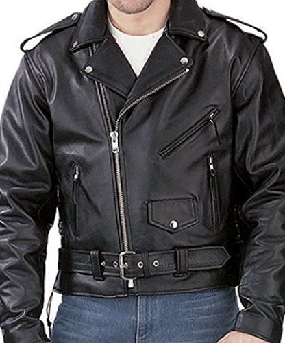 Reed® Men's Classic Leather Motorcycle Jacket with Pistol Pocket ...