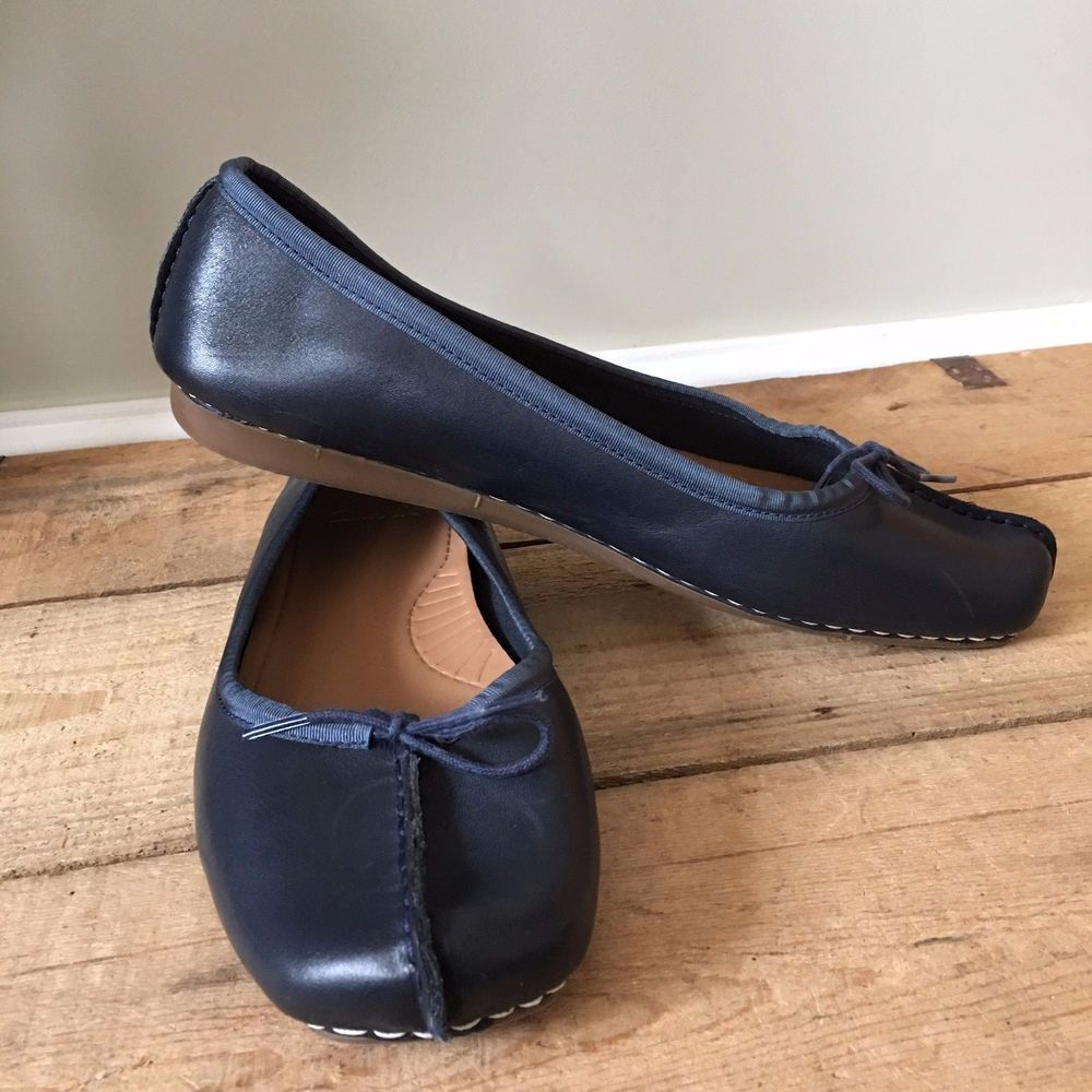 size 40 d57b0 3a450 UK SIZE 8 WOMENS CLARKS FRECKLE ICE BLUE LEATHER BALLET ...