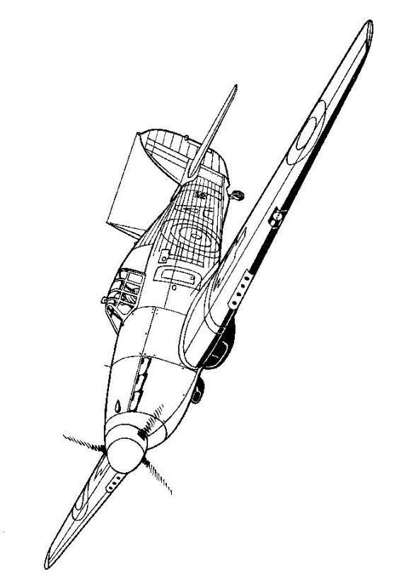Coloring page WWII Aircrafts Kawker Hurricane 1940