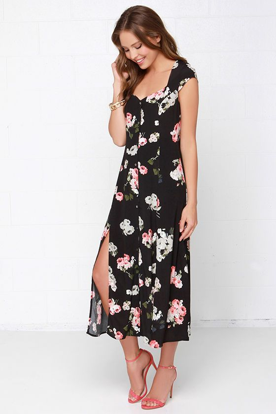 018a90bef7416 Mink Pink Moon Flower Black Floral Print Maxi Dress at Lulus.com!