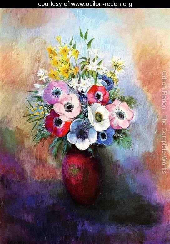Anemones Reproduction Www Odilon Redon Org Large Flower Painting Odilon Redon Flower Art