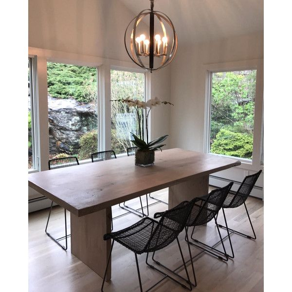 Light Whitewash Solid White Oak Boss Style Table 1 275 Liked On Polyvore Featuring Dining Table In Kitchen Contemporary Kitchen Tables Grey Dining Tables