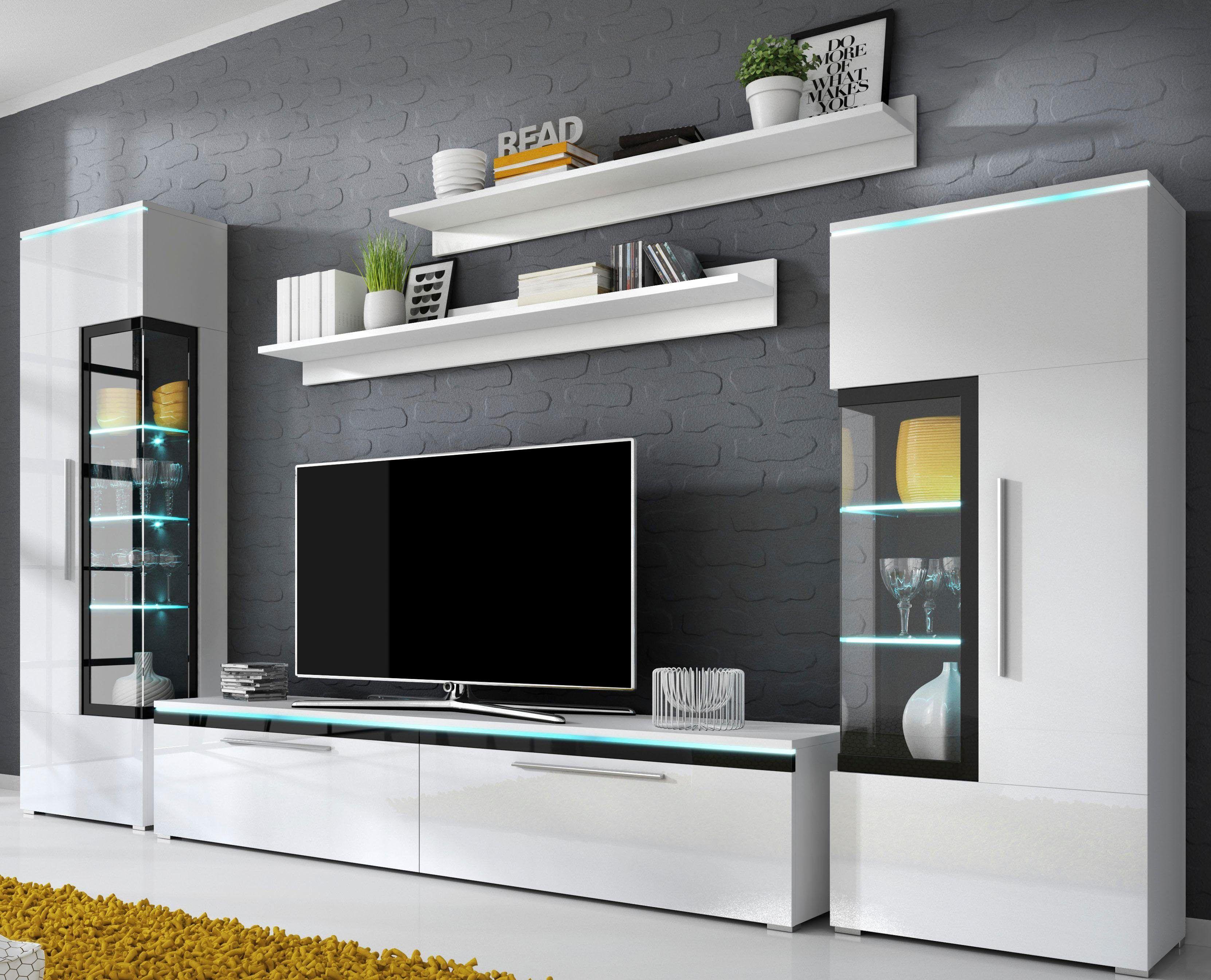 Wohnwand weiß, pflegeleichte Oberfläche, FSC®-zertifiziert