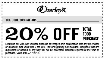 photo relating to O Charley's Printable Coupons known as 20% off the tab at OCharleys places to eat The Coupon codes Application