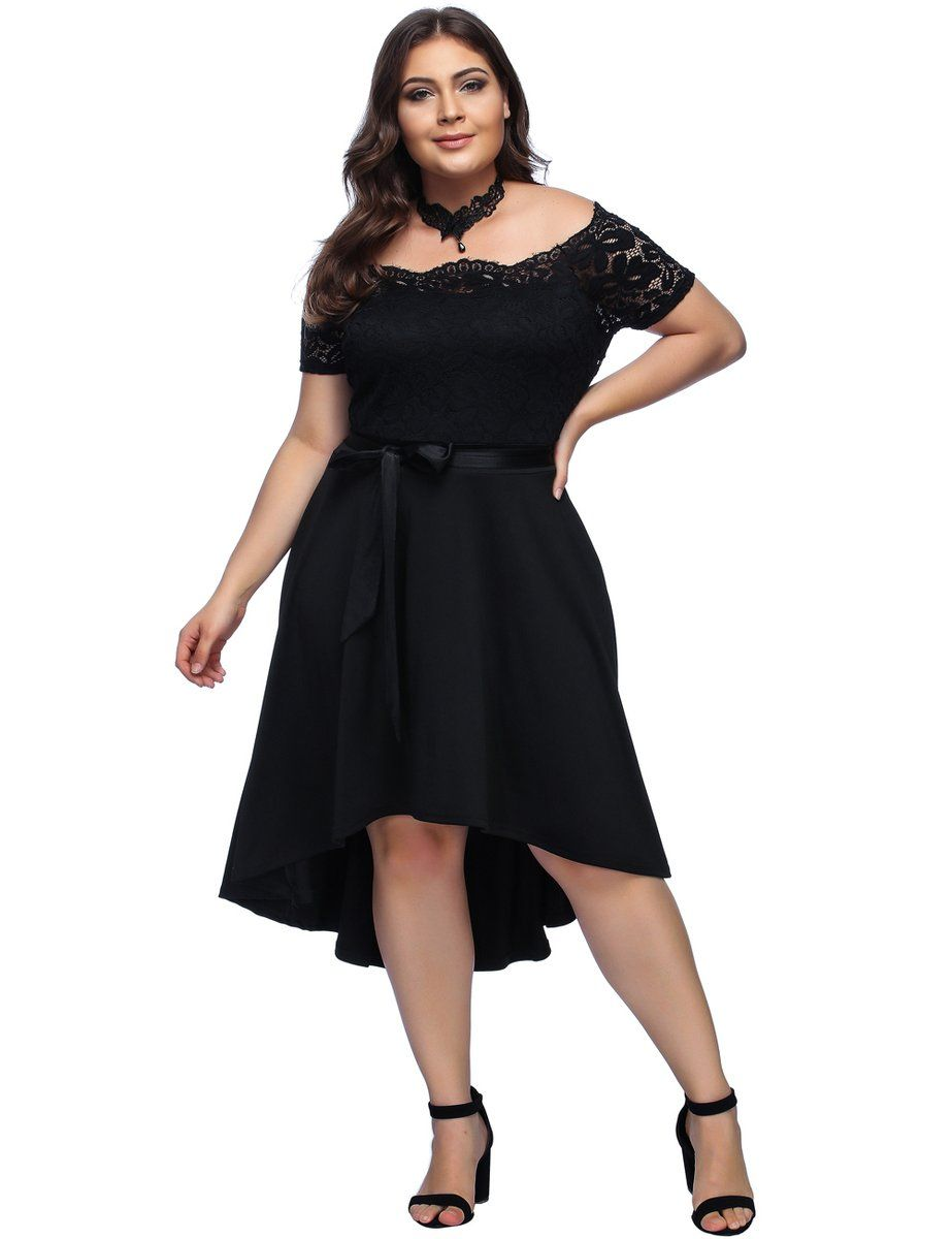 Material 100 Polyester Black Off Shoulder Plus Size Mini Dress With Short Front And Long Back Silhou Plus Size Mini Dresses Plus Size Cocktail Dresses Dresses [ 1200 x 923 Pixel ]