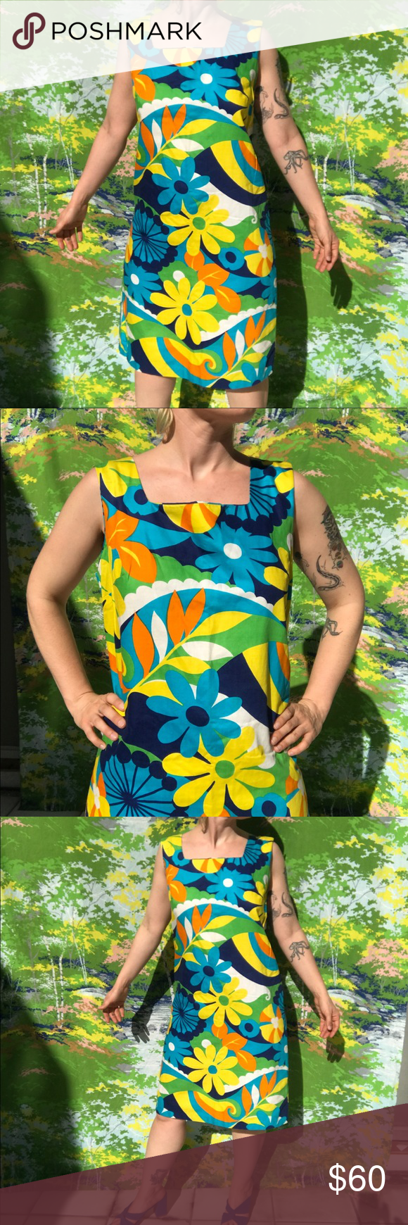 vintage 60s psychedelic mod midi Hawaiian dress ❣️ amazing vintage 60s psychedelic mod mid length Hawaiian dress 🌺 | bright yellow blue green orange daisy print 🌼 by aloha authentic hawaiian originals | a few light marks | does not include green belt but looks great styled with a colorful belt and your favorite lace up boots and white fishnets | made in USA 🇺🇸 | zip back closure   fits S to M ❣️ unisex | pit to pit 19 | length 33    American Vintage D