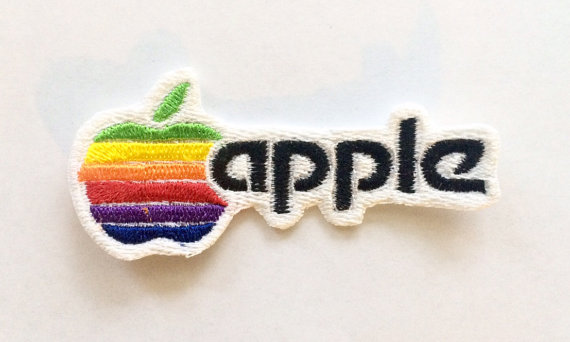 2cafc6e500af3 Apple Computer Retro Logo, Iron-on Embroidered Patch | patches | Old ...