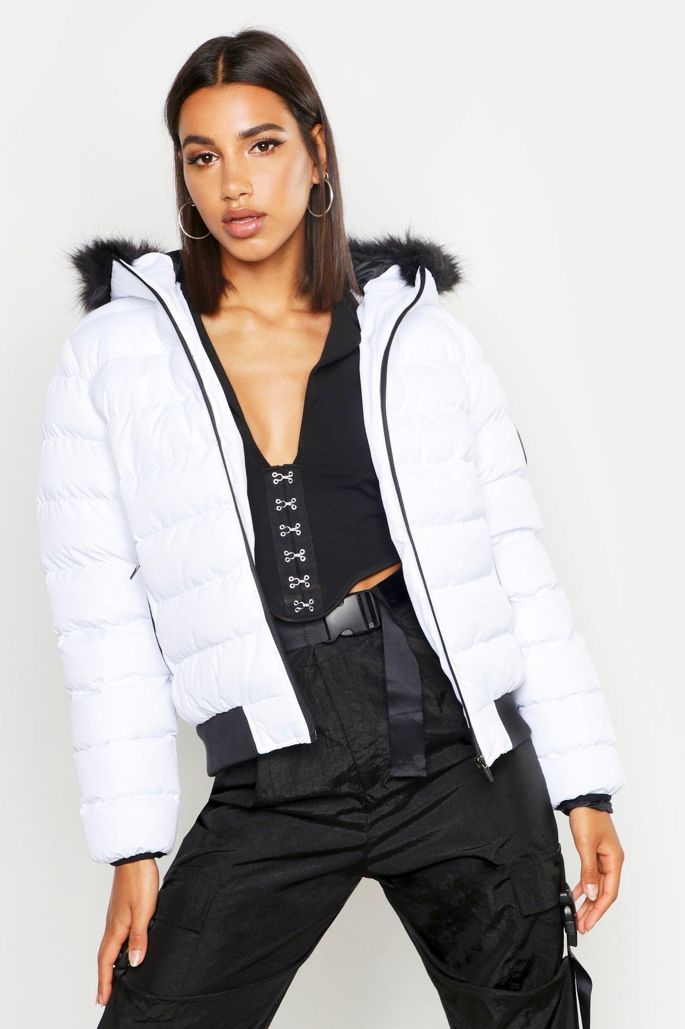Faux Fur Hooded Puffer Jacket Boohoo Puffer Jacket Fur Hood Faux Fur Hooded Jacket Stylish Jackets