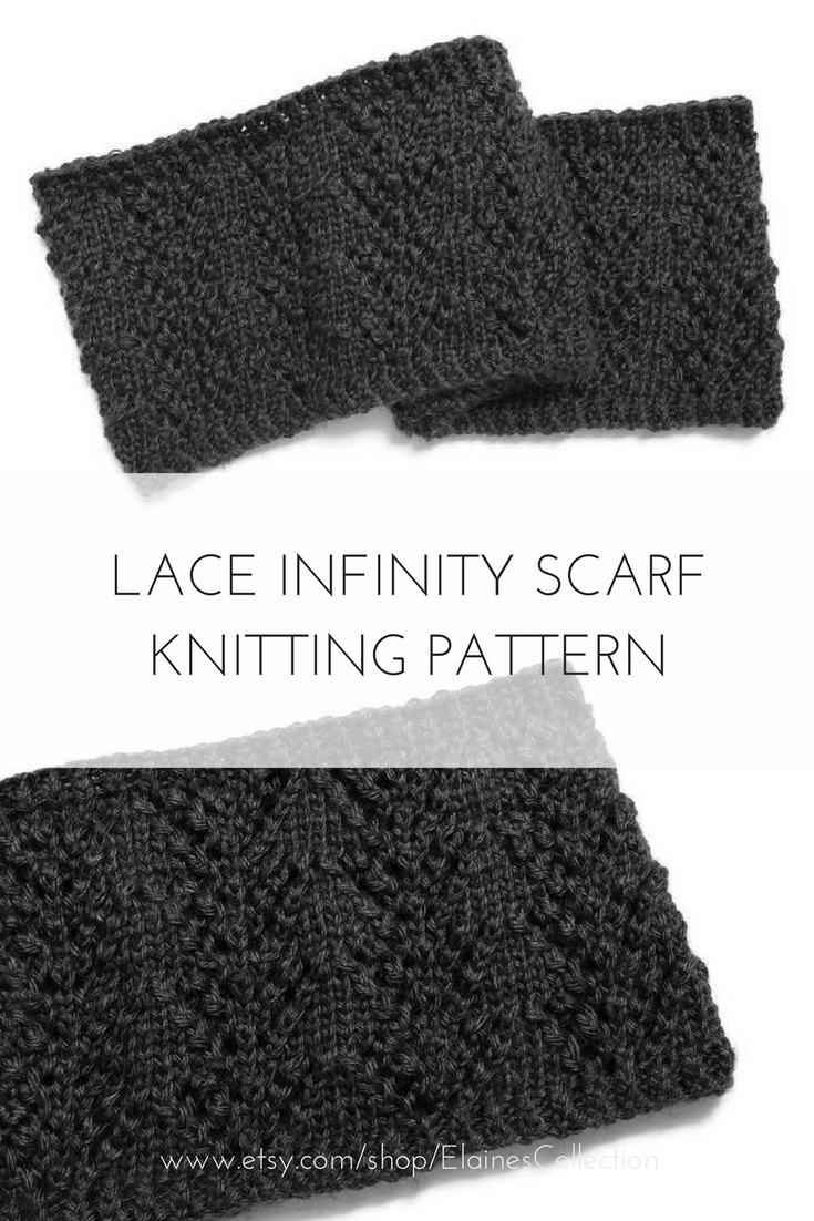 Easy lace infinity scarf knitting pattern - beginner lace knitting ...