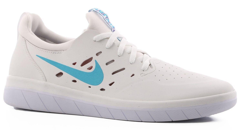 Brand New Mens Nike SB Nyjah Free Skateboard Shoes Summit White Light Blue  Fury 6ff0523e6