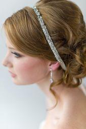 Bridal Ribbon Headband, Luxe Satin Ribbon Headband, Wedding Head Piece, Beaded Ribbon Headban...,  #Beaded #bridal #Headban #Headband #headbandhairstylesweddinghairdos #Luxe #piece #Ribbon #Satin #Wedding