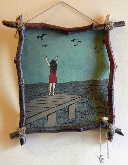marco hecho con palos   MANUALIDADES   Pinterest   Marcos, Fotos ...